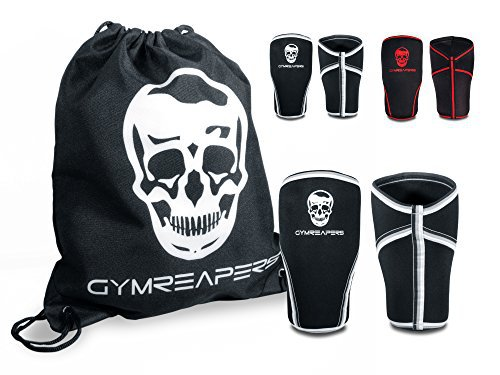 Knee Sleeves Free Gym Bag - Knee Sleeve & Compression Brace for Squats, Weightlifting, Cross Training and Powerlifting - Gymreapers 7MM Sleeve Pair