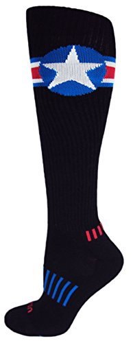 MOXY Socks Black with Red, White, and Blue American Star Knee-High Deadlift Socks