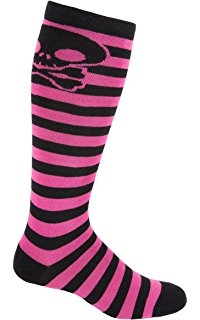 MOXY Socks Skater Skull Knee-High Striped Deadlift Socks
